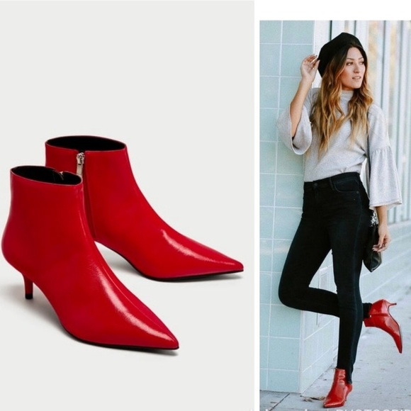 c807712703f8 ZARA RED MID-HEEL ANKLE BOOTS - NEW WITH TAGS